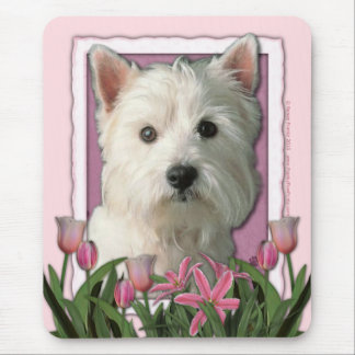 Mothers Day - Pink Tulips - West Highland Terrier Mouse Mat