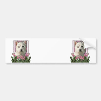Mothers Day - Pink Tulips - Westie Bumper Sticker