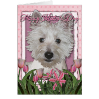 Mothers Day - Pink Tulips - Westie Card