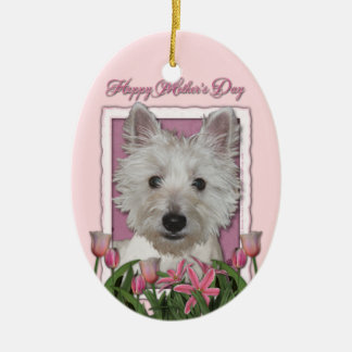Mothers Day - Pink Tulips - Westie Ceramic Oval Decoration