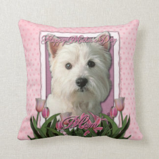 Mothers Day - Pink Tulips - Westie Cushion