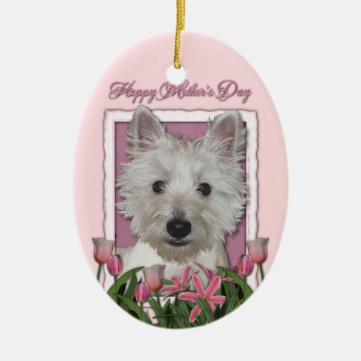 Mothers Day - Pink Tulips - Westie Christmas Tree Ornament