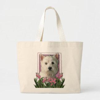 Mothers Day - Pink Tulips - Westie Jumbo Tote Bag