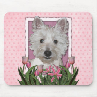 Mothers Day - Pink Tulips - Westie Mouse Mat
