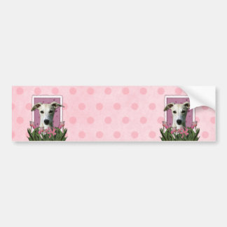 Mothers Day - Pink Tulips - Whippet Bumper Stickers