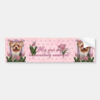 Mothers Day - Pink Tulips - Yorkshire Terrier Bumper Stickers