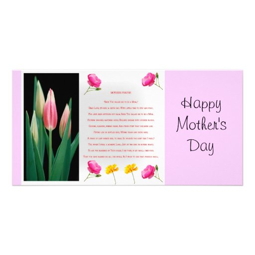 Mothers day prayer photo card template