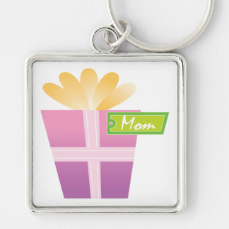 Mothers Day Present Silver-Colored Square Key Ring