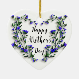 Mother's Day - Pretty Floral Heart Ceramic Heart Decoration