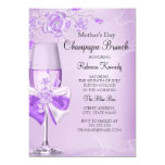 Mother's Day Pretty Lilac Rose Champagne Brunch 13 Cm X 18 Cm Invitation Card