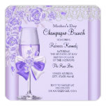 Mother's Day Pretty Lilac Rose Champagne Brunch 2C 13 Cm X 13 Cm Square Invitation Card