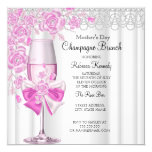 Mother's Day Pretty Pink Rose Champagne Brunch 2a 13 Cm X 13 Cm Square Invitation Card