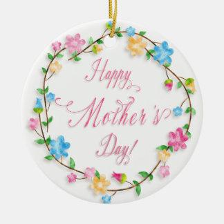 Mother's Day - Pretty Spring Florals Wreath WA Round Ceramic Decoration