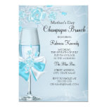 Mother's Day Pretty Teal Rose Champagne Brunch 13 Cm X 18 Cm Invitation Card