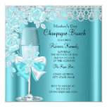 Mother's Day Pretty Teal Rose Champagne Brunch 2B 13 Cm X 13 Cm Square Invitation Card