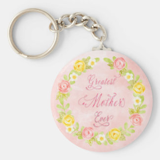 Mother's Day - Pretty Watecolor Roses 2 - Word Art Key Ring