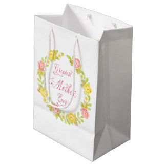 Mother's Day - Pretty Watercolor Roses Medium Gift Bag