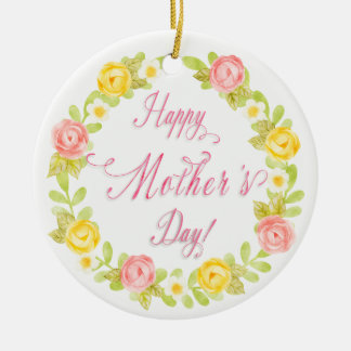 Mother's Day - Pretty Watercolor Roses Personalize Round Ceramic Decoration