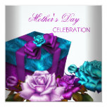 Mother's Day Purple Teal Pink Roses floral Flowers Custom Invitations