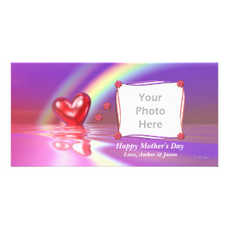 Mother's Day Rainbow Heart Customized Photo Card