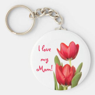 Mother's Day Red Tulips Basic Round Button Key Ring
