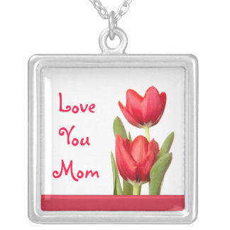 Mother's Day Red Tulips Square Pendant Necklace
