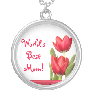 Mother's Day Red Tulips Round Pendant Necklace