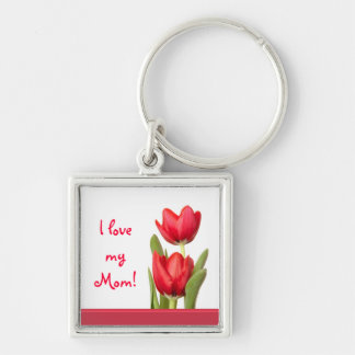 Mother's Day Red Tulips Silver-Colored Square Key Ring