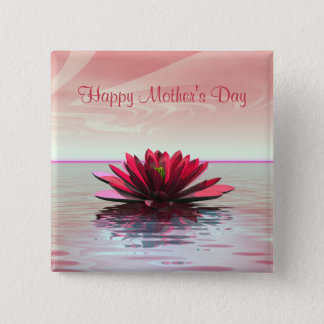 Mother's Day Red Water Lily 15 Cm Square Badge