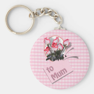 Mother's Day Roses For Mum on Checkered Pink Keychains