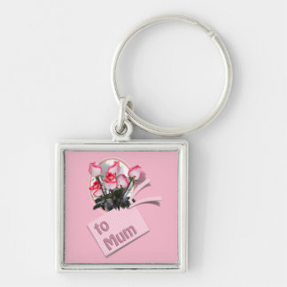 Mother's Day Roses For Mum (on Pink) Key Chains