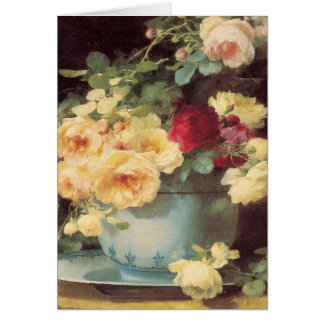 Mother's Day Roses in Porcelain Bowl Greeting Card