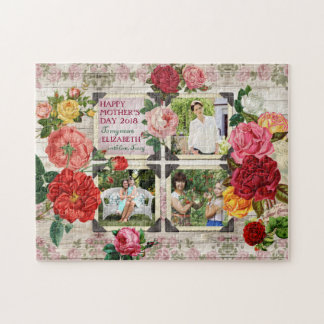 Mother's Day Roses Instagram Vintage Photo Collage Puzzles