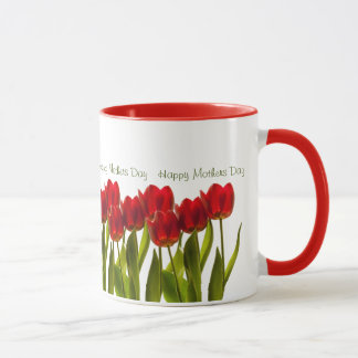 Mother's Day - Row of Bright Red Spring Tulips