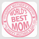 Mother's Day rubber stamp effect Square Stickers