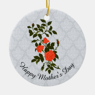 Mother's Day Salmon Coral Rose Sprig Christmas Ornament