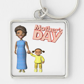 Mothers Day Silver-Colored Square Key Ring