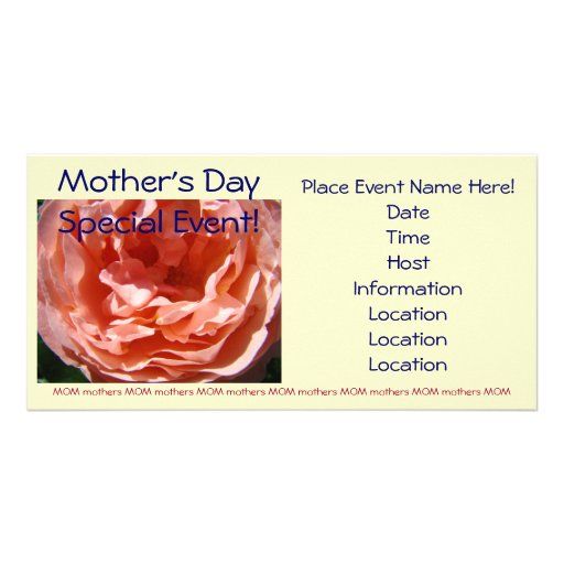 Mother's Day Special Event Pink Rose invitations Customized Photo Card