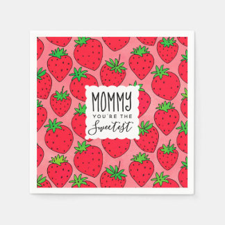 Mother's Day Sweetest Mom Strawberries Disposable Serviette