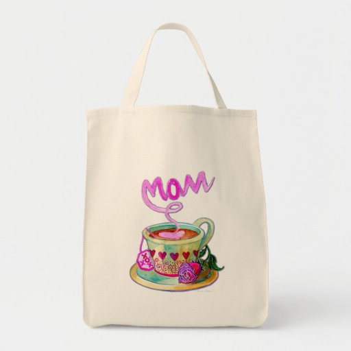 Mother's Day Teacup with Hearts for Mom Tote Bags