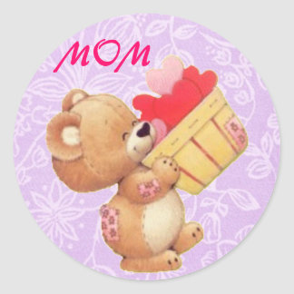 Mother's Day Teddy And A Basket Of Hearts Classic Round Sticker