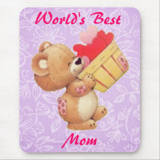 Mother's Day Teddy And A Basket Of Hearts Mouse Mat