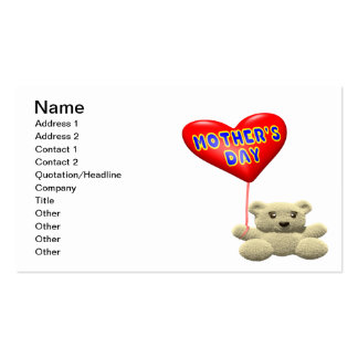 Mothers Day Teddy Bear Balloon Business Cards