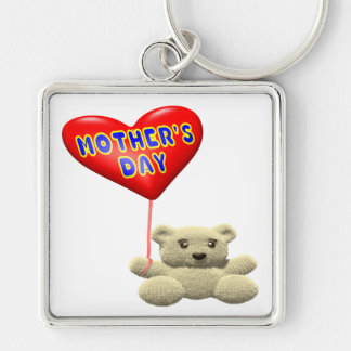 Mothers Day Teddy Bear Balloon Silver-Colored Square Key Ring