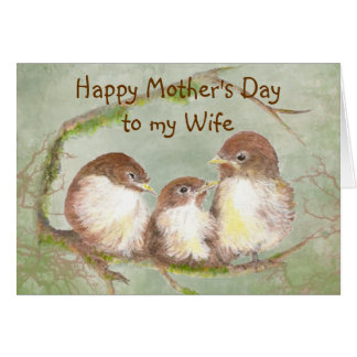 Mother's Day to Wife Cute Sparrow Bird Family Card
