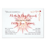 Mother's Day Trendy Floral Red Brunch Invitation 13 Cm X 18 Cm Invitation Card