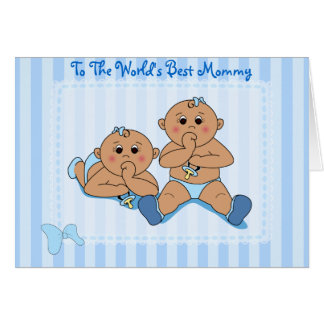 Mother's Day - Twin Baby Boys Card