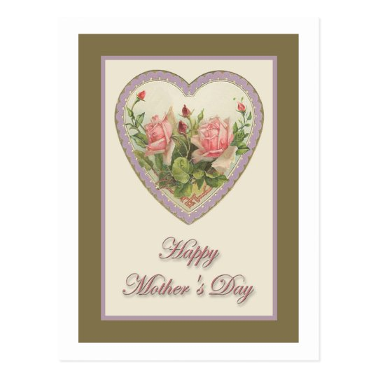 Mother's Day Vintage Heart & Flowers Postcard