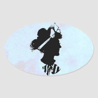 Mother's Day Vintage Woman Silhouette on Blue Oval Sticker