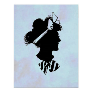 Mother's Day Vintage Woman Silhouette on Blue Poster